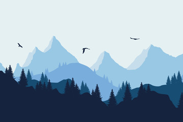 Vector illustration of a mountain landscape with a forest and flying birds