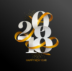 New Years 2018. Greeting card with date and ribbon