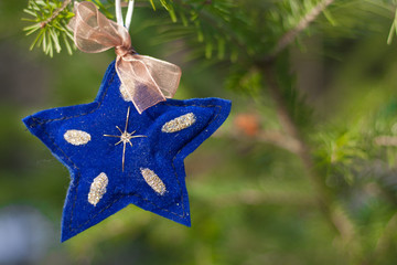 Closeup view of christmas decoration. Xmas mockup with blue star and fir-tree