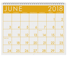 2018 Calendar: Month Of June With Flag Day