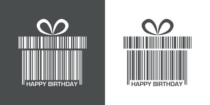 Icono plano codigo de barras regalo HAPPY BIRTHDAY gris y blanco