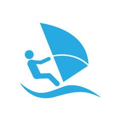 Icono plano windsurf azul en fondo blanco