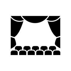 Icono plano teatro negro en fondo blanco
