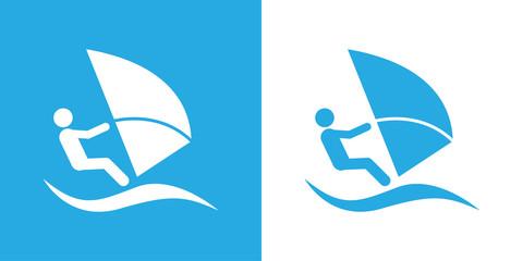 Icono plano windsurf azul y blanco