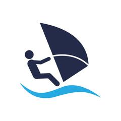 Icono plano windsurf con ola azul en fondo blanco
