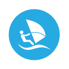 Icono plano windsurf en circulo azul