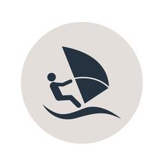 Icono plano windsurf en circulo gris
