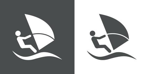 Icono plano windsurf gris y blanco