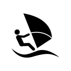 Icono plano windsurf negro en fondo blanco
