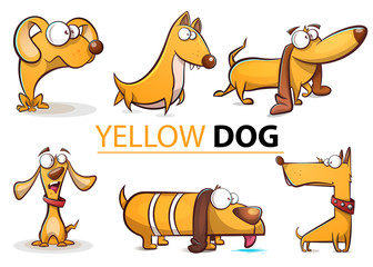 Set yellow dog 2018 cartoon illustration. Vector eps 10