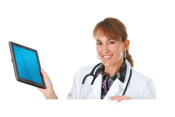 Doctor: Holding a Tablet Computer Behind White Card