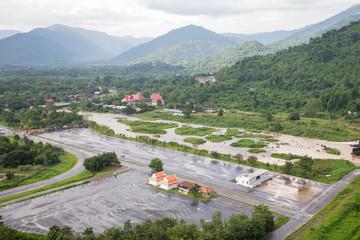 Khun Dan Prakan Chon Dam in Nakhon Nayok Thailand.