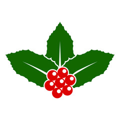 holly berry christmas flat design