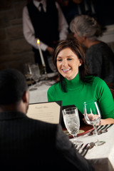 Restaurant: Woman Out For Date At Romantic Restaurant