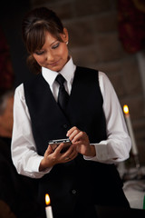 Restaurant: Waitress Writing Order On Digital Tablet