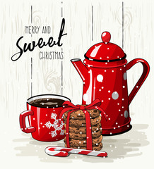 Christmas theme, red cup of coffee, stack of cookies and tea pot, illustration