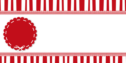 Festive banner with round pattern and space for text. Red and white vintage striped pattern on white background framed with lace. Christmas and new year colored vector illustration, poster, template .