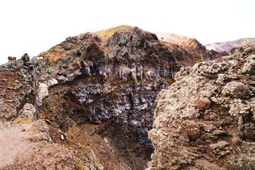 Volcano Vesuvius crater. Volcanic rocks and textures.