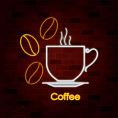 hot coffee drinking cup on dish and coffee beans in neon sign on brick wall