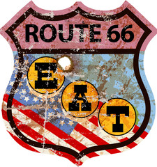 grungy route 66 diner sign, retro style, vector illustration, fictional artwork, free copy space