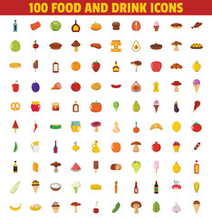 100 Food and drink icons set. Big collection food and drink objects with meat, mushroom, bakery, fruit and vegetable. Objects for kitchen design, farm advertising and menu. Vector illustration