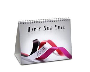 Happy new year 2018 desk calendar isolated