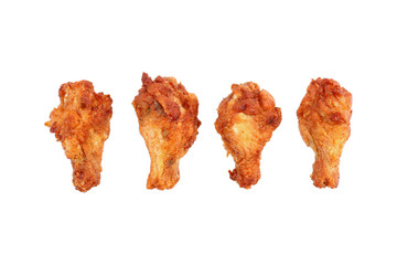 deep fried chicken thighs isolated on white
