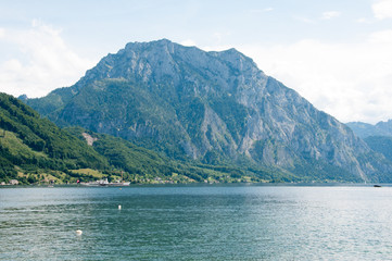 mount Traunstein and lake Traunsee in Austria