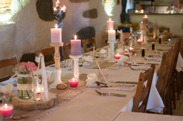 banquet table with candles