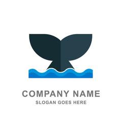Whale Fin Ocean Animal Logo Vector Icon