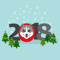 New Year banner with an inscription 2018, a muzzle of a dog, decorated with Christmas trees . Vector illustration.