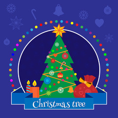 Christmas banner with a Christmas tree decorated with toys Vector illustration.