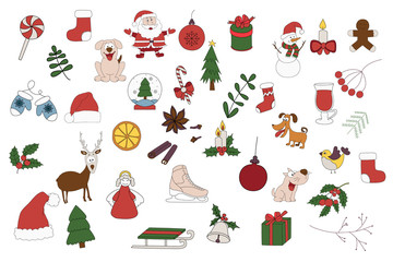Merry Christmas Badges, Patches, Stickers. A set of Christmas stickers. Hand drawn vector illustration on a white background.
