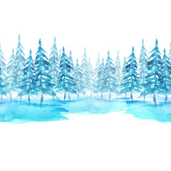 Seamless watercolor linear pattern, border. Blue spruce, pine, cedar, larch, abstract forest, silhouette of trees. On white isolated background. A tree in winter in a snowdrift. Forest landscape.