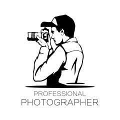 Photographer with camera icon.Photographer logo