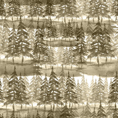 Seamless watercolor pattern, background. dark, brown silhouette of trees, spruce, pine, cedar. Abstract scenic forest landscape.