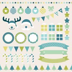 Retro Christmas Set Blue/Green