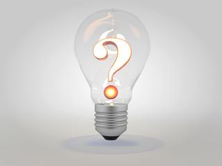 Question mark with lit light bulb idea concept 3D illustration