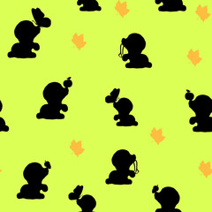 Seamless pattern, autumn background with collection of doggies silhouettes,