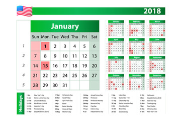 2018 Green yearly vector calendar. Federal holidays, moon and numbers of weeks.