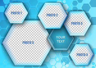 Template for photo collage in modern style. Frames for clipping masks is in the vector file