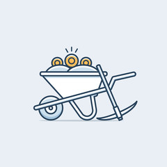 Wheelbarrow with golden cryptocurrency coins vector illustration in monoline style