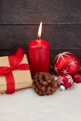 Christmas with red candle and decoration