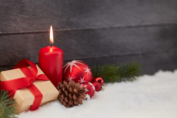 Christmas decoration with candle as background