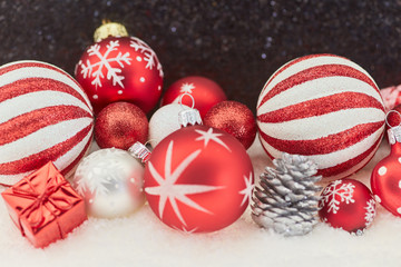 Red Christmas baubles decoration