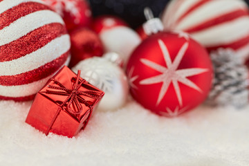 Red gift or present with christmas decoration