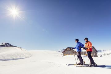Senior skiing near Damülser Mittagsspitze, Damüls, Austria