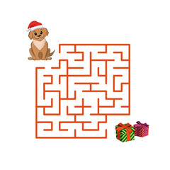 Christmas children's game: puppy in the maze. Help dog to get out of the labyrinth