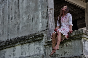 Zombie, Ghost, Woman murder with bloody sit wait for help