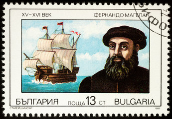 Ferdinand Magellan and his ship Trinidad on postage stamp